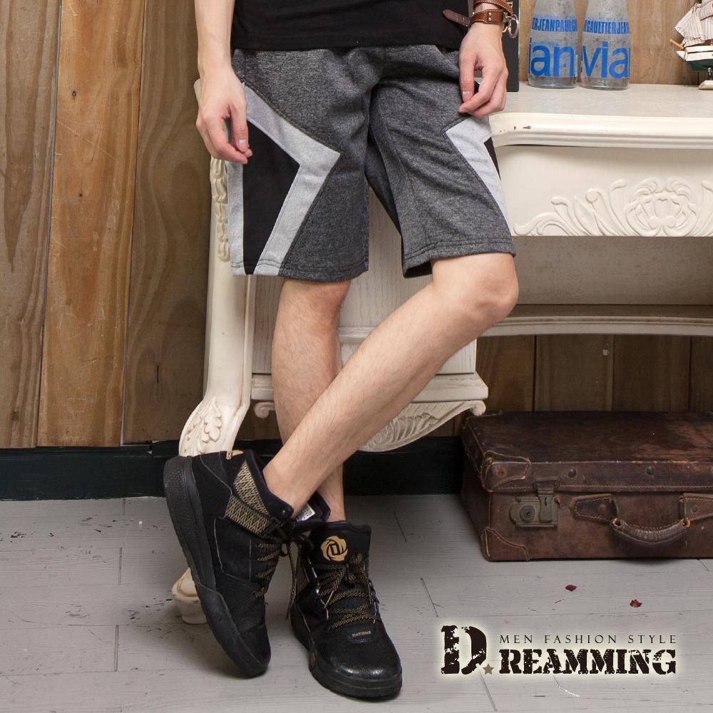 Dreamming 拼布幾何時尚混色鬆緊休閒短褲-共二色 (灰色)