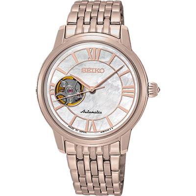 SEIKO Presage 羅馬時光開芯機械女錶(SSA848J1)-玫瑰金/34mm