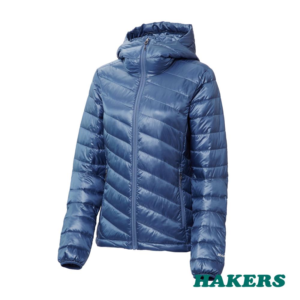 【HAKERS 哈克士】女-智能保暖羽絨外套(暗靛藍)