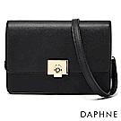 達芙妮DAPHNE-金色方扣掀蓋式斜背小方包-黑
