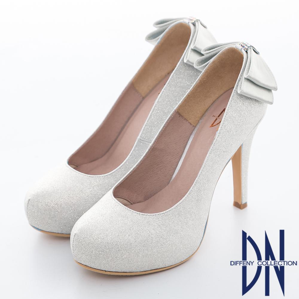 DN 耀眼迷人 華麗金蔥蝴蝶結鑲鑽新娘晚宴鞋 銀
