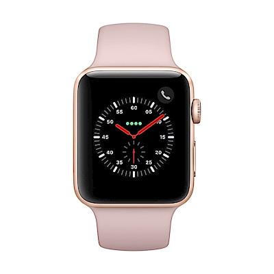 Apple Watch Series 3(GPS+網路) 42mm金色鋁金屬錶殼+粉沙色運動錶帶