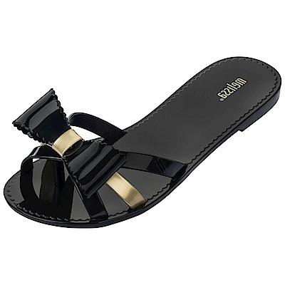 Melissa 交叉帶蝴蝶結夾腳鞋-黑色