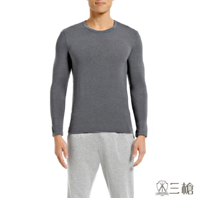 三槍牌時尚經典2件組 台灣製舒適男長袖TG-HEAT灰色發熱衣