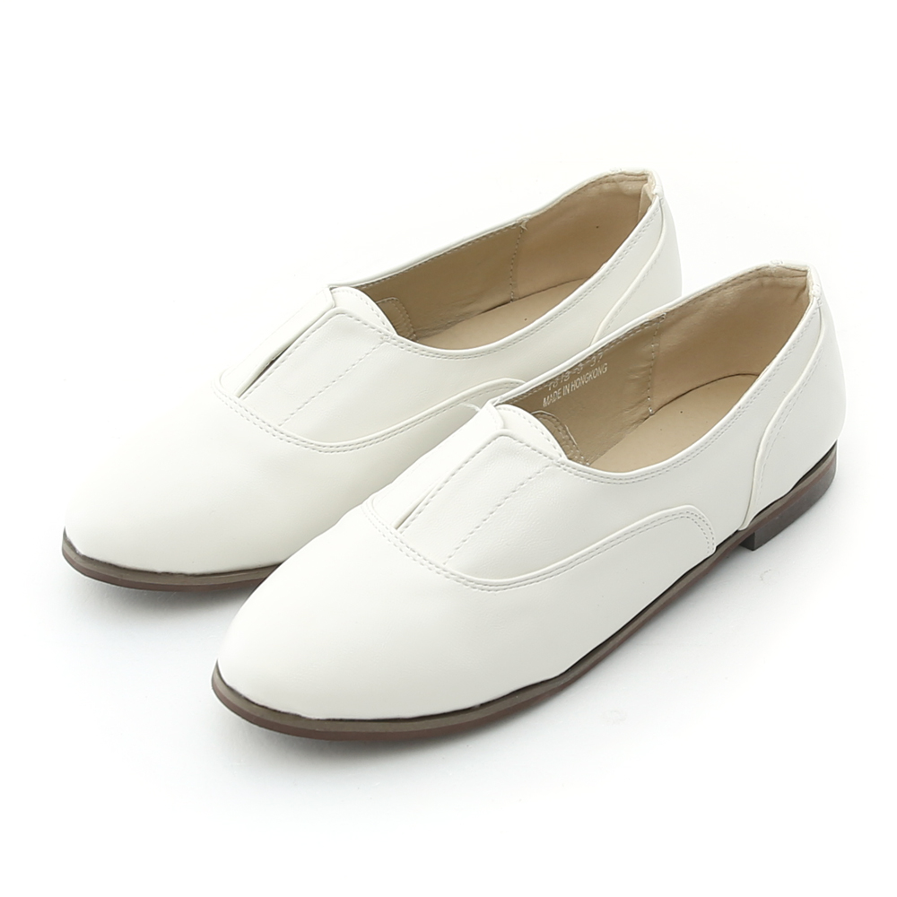 Miss Dora 率性印象.無綁帶牛津紳士鞋*白