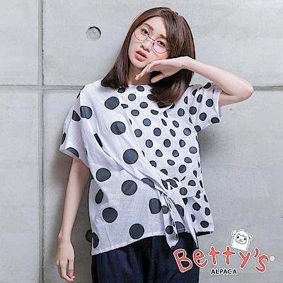 betty's貝蒂思 復古點點綁結上衣(白色)