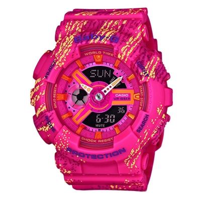 BABY-G霧狀蠟筆紋路設計運動時尚童趣概念休閒錶(BA-110TX-4A)-紅/43.3mm