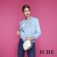 ICHE衣哲 時尚印花拼貼鋪棉棒球造型外套-藍 product thumbnail 1