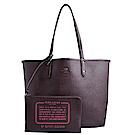 COACH 立體馬車LOGO紅黑格子紋雙面使用肩背托特包-紅黑/咖啡色
