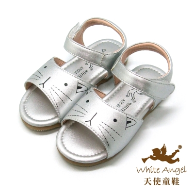 天使童鞋-F5045可愛貓咪涼鞋小童-甜心銀