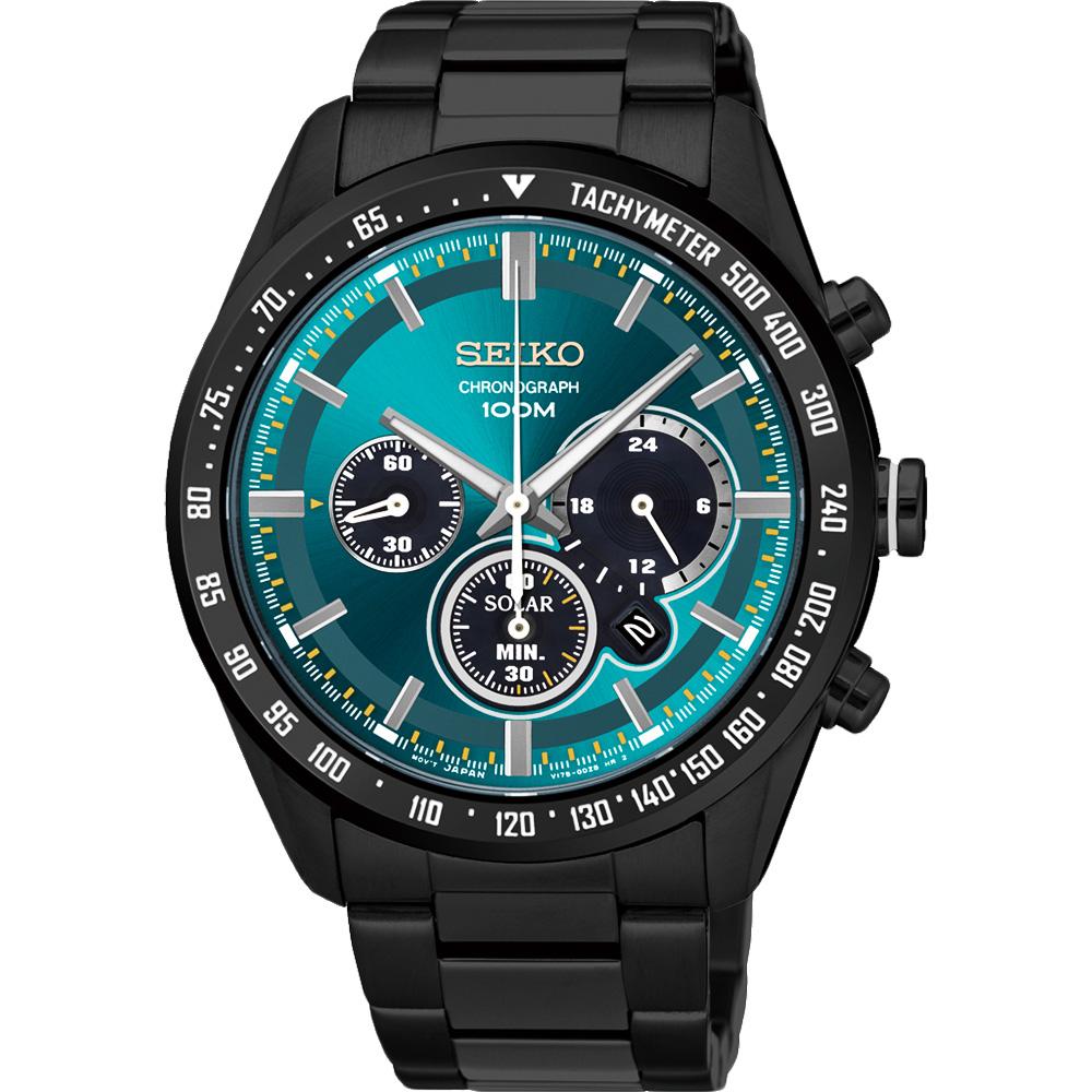SEIKO Criteria 極速風暴太陽能計時碼錶(SSC475P1)-綠x黑/42mm