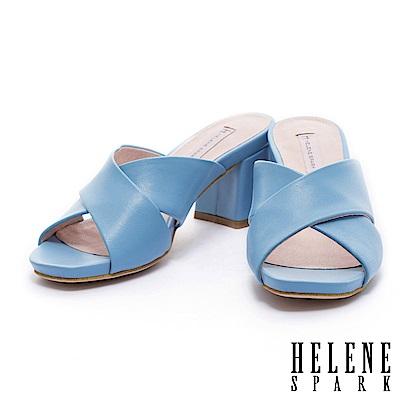 拖鞋 HELENE SPARK 簡約純色羊皮交叉字帶粗跟拖鞋-藍