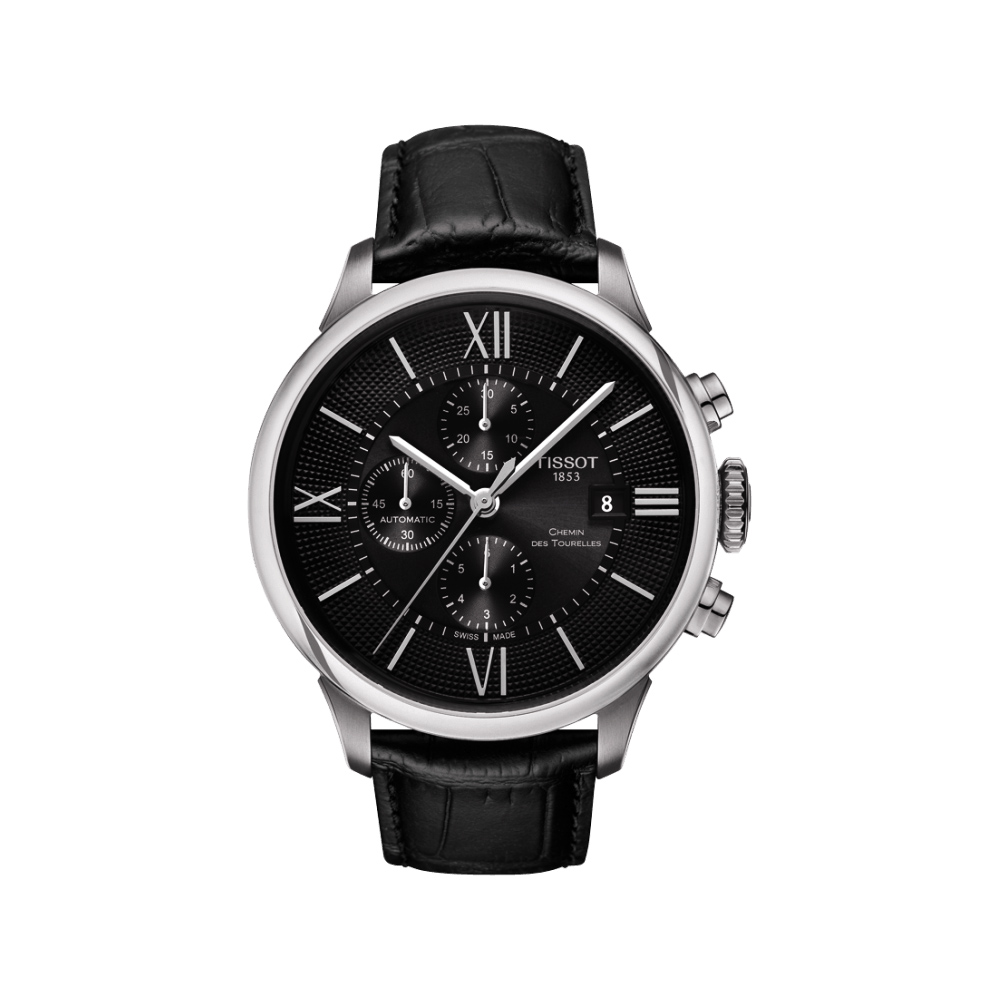 TISSOT 杜魯爾系列機械計時腕錶-黑/44mm