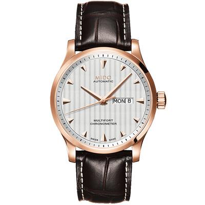 MIDO 美度 Multifort 先鋒系列經典機械腕錶-銀x玫瑰金框/42mm