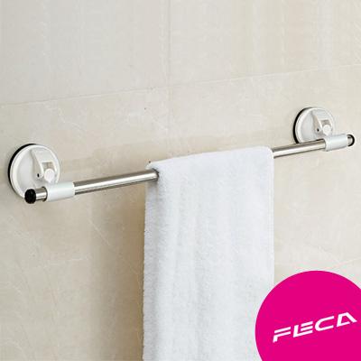 FECA非卡 無痕強力吸盤 不鏽鋼毛巾架(白)