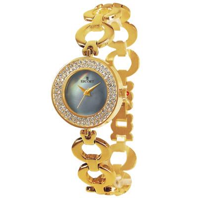 ESCORT 閃耀動人晶鑽時尚腕錶-藍x金/28mm