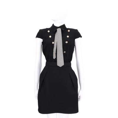 ELISABETTA FRANCHI 黑色排釦領帶設計短袖洋裝