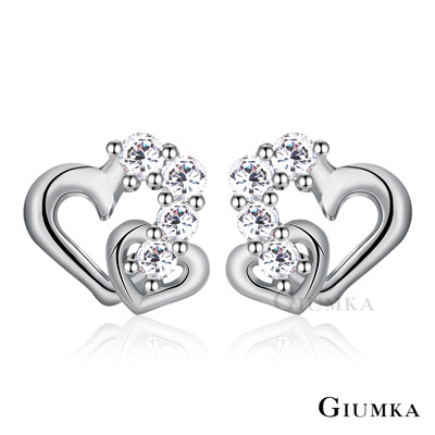 GIUMKA純銀耳環 真心女孩 愛心耳環針式-銀色