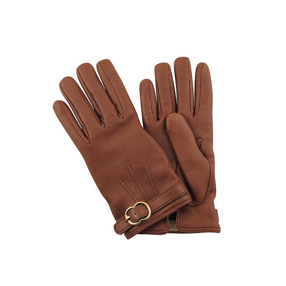 GUCCI 咖啡色真皮雙G環釦手套【7.5號】