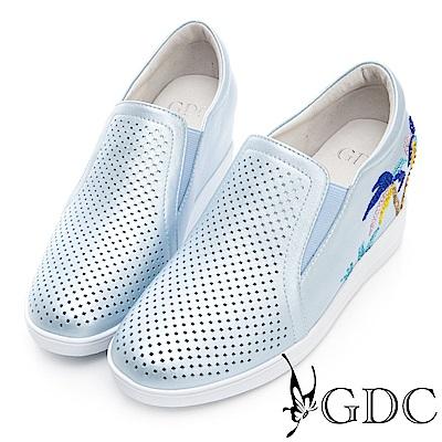 GDC-真皮夏日椰子樹沖孔楔型底休閒鞋-藍色