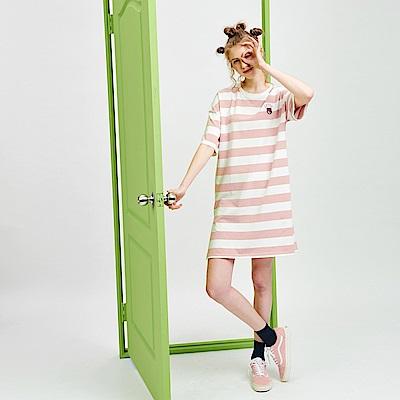 CACO-熊抱哥款寬條洋裝-女【PDI032】