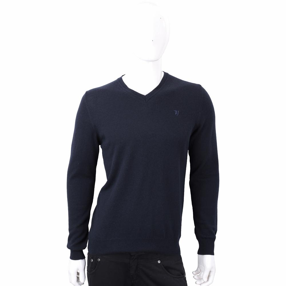 TRUSSARDI T字刺繡細節深藍色針織羊毛衫