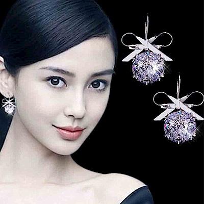 梨花HaNA 韓國璀璨光芒水晶方塊蝴蝶結耳環