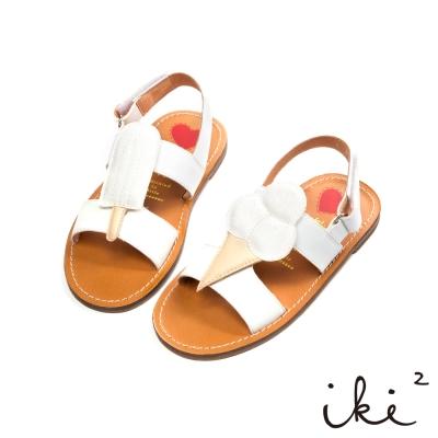 iki2 童鞋-冰淇淋派對撞色魔鬼氈涼鞋-白