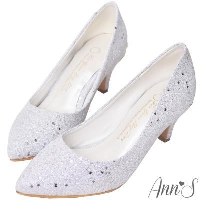 Ann'S華麗碎石後跟金立體小蝴蝶尖頭低跟包鞋-銀(版型偏小)
