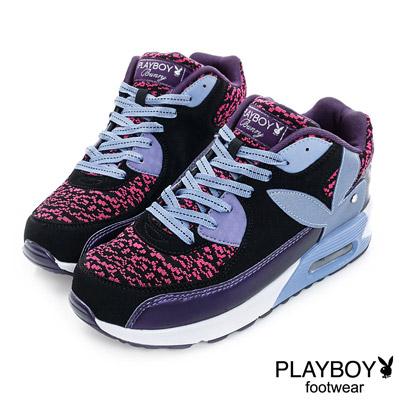 PLAYBOY-韓流指標-針織拼接氣墊休閒鞋-紫-女