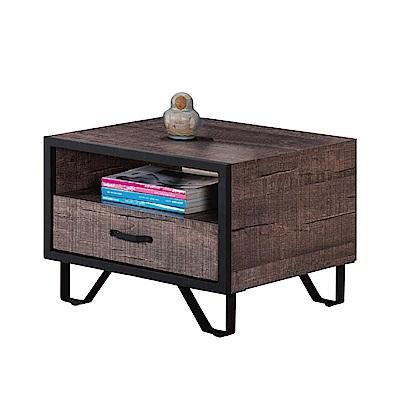 品家居 艾思拉2尺木紋雙色單抽小茶几-60x60x45cm免組
