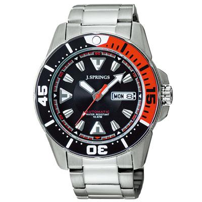J.SPRINGS系列 超跑女神競速時尚機械錶-黑紅X銀/42mm