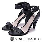 Vince Camuto 高質感牛皮繞踝高跟涼鞋-黑色