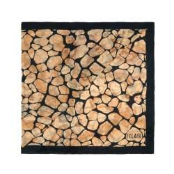 Alviero Martini 義大利地圖 地圖斑紋絲巾-黑/地圖黃(70X200)