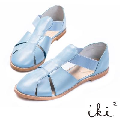 iki2-真皮T字鏤空平底涼鞋 - 天空藍