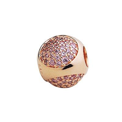 PANDORA 玫瑰金粉紅鋯石圓墜