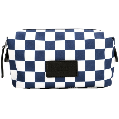 MBMJ Domo Arigato 賽車旗格紋萬用化妝包(藍x白)