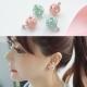 梨花HaNA 韓國925銀針鏤空花球微鑲鑽石