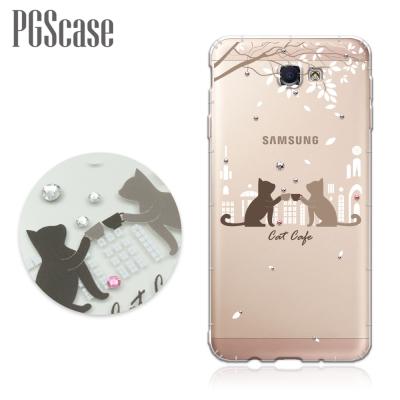 PGS-Samsung-Galaxy-J7-Prime-奧地利彩鑽防摔手機殼-午茶貓咪