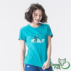 【SNOWFOX 雪狐】生命奇蹟插畫家陳寧悅聯名圖T/女款短袖T恤AT-81613W藍