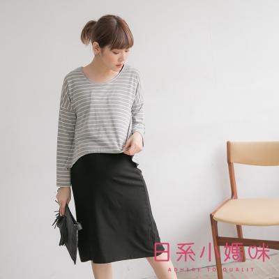 日系小媽咪孕婦裝-韓製哺乳衣~二件式百搭條紋洋裝 (共三色)