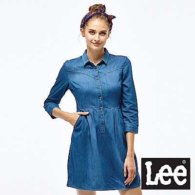 Lee 牛仔長袖連身洋裝-女款-藍