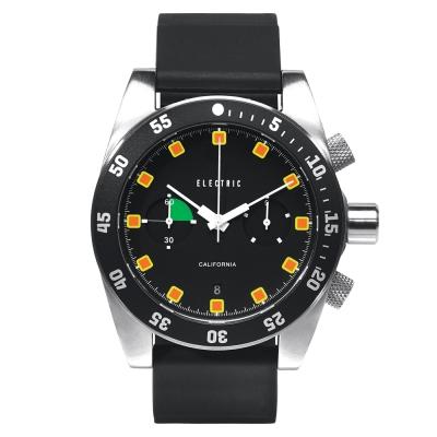 ELECTRIC DW02系列-時尚雙眼設計計時腕錶-黑面x黑矽膠帶/44.5mm