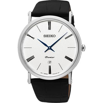 SEIKO 精工 Premier 系列超薄石英腕錶(SKP395J1)-銀/40mm