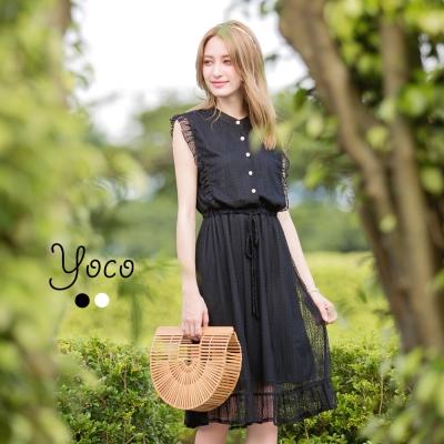 東京著衣-yoco 復古滿版蕾絲荷葉邊縮腰洋裝-S.M.L(共二色)