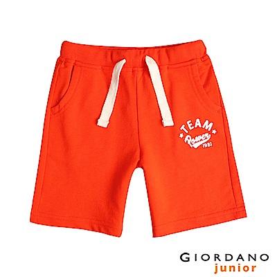 GIORDANO 童裝撞色抽繩印花棉質短褲-39 桔子色