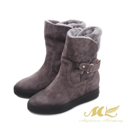 MK-全真皮-刷毛蒙古內增高厚底雪靴-灰色