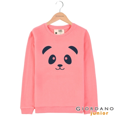 GIORDANO 童裝毛巾布圓領可愛印花T恤 - 01 鮭魚玫瑰紅