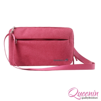 DF Queenin - 韓版高質感旅行專屬側背包-玫紅