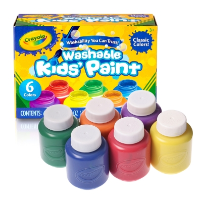 美國 Crayola繪兒樂 可水洗兒童顏料2OZ 6色(3Y+)
